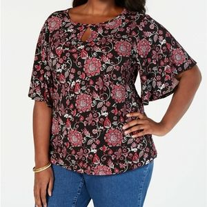 NEW CHARTER CLUB PLUS SIZE 3X FLORAL TOP BLOUSE